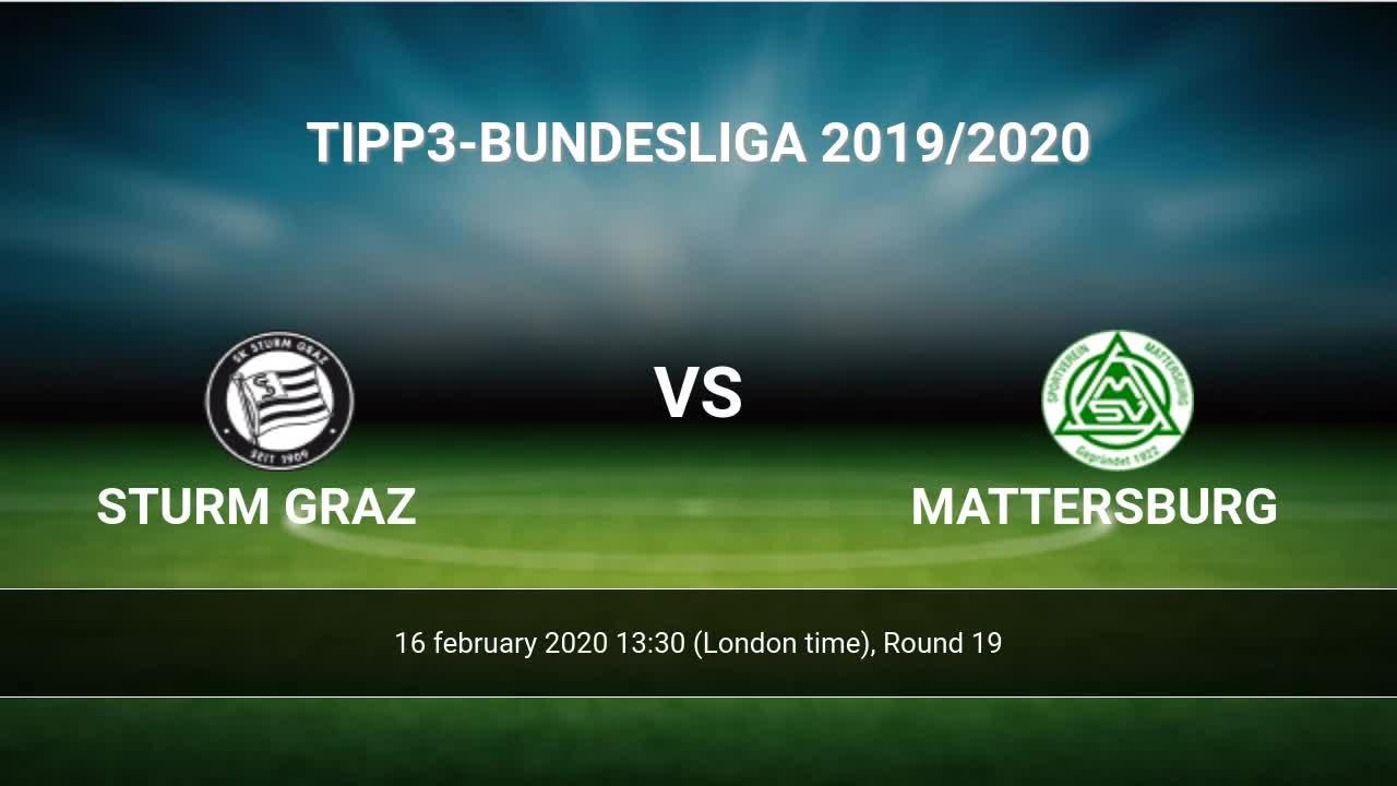 Sturm Graz Vs Mattersburg H2h 16 Feb 2020 Head To Head Stats Prediction