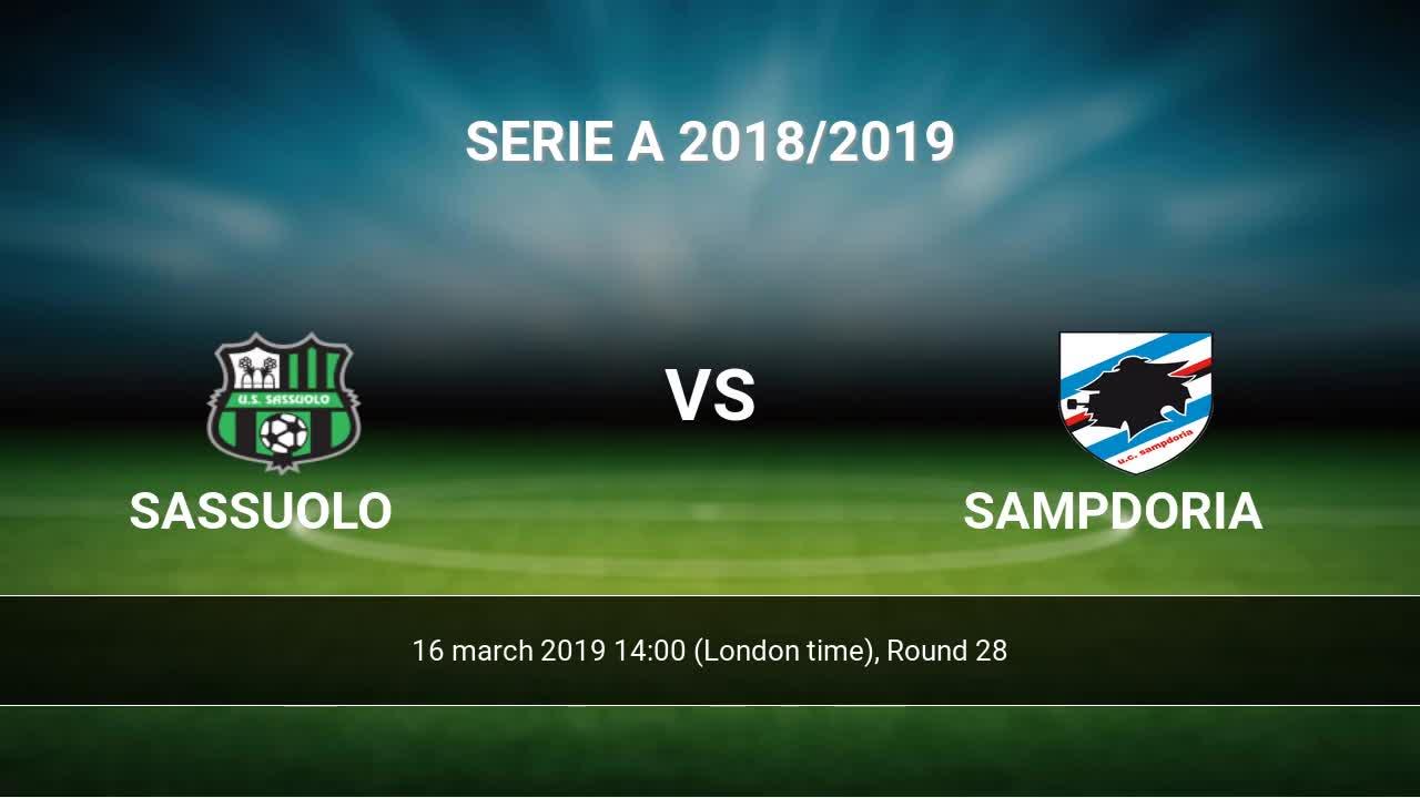 Sassuolo - Sampdoria livescores result Serie A 16 mar 2019